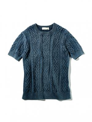Mens Aran  Knit with Vintage Finish