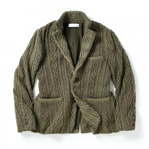 Mens  Aran cable Knit Jacket with Vintage Finish