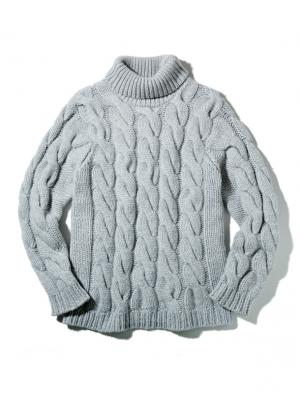 PURE CASHMERE KNIT TURTLE NECK